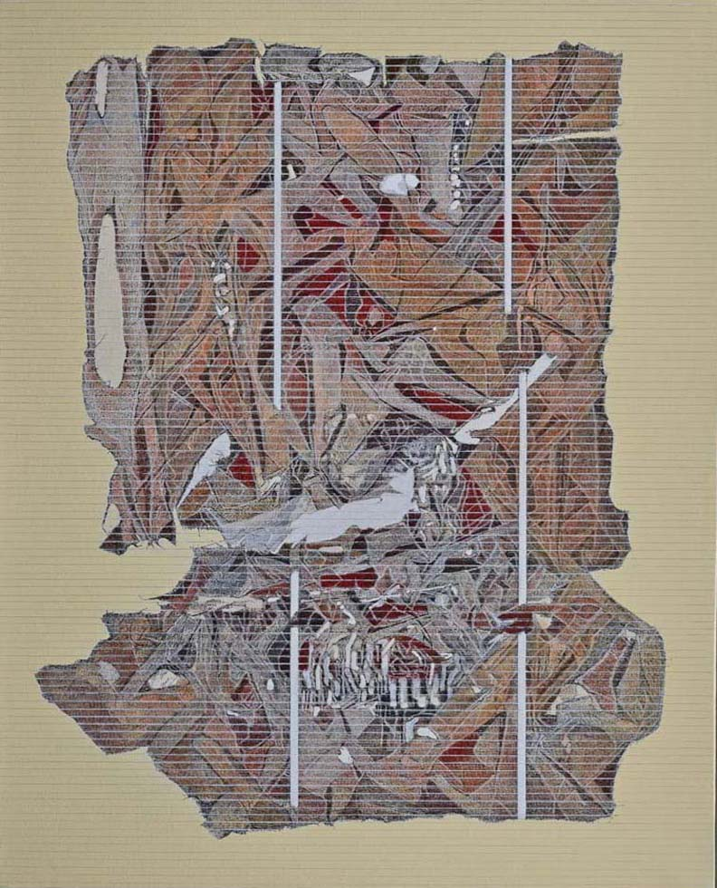 Village Pond. Acrylic and ink on canvas, 49 x 36 inches. Art No. 11798.