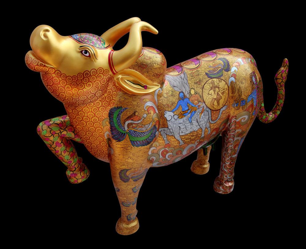Kamadhenu. Acrylic on fiber, 40 x 56 x 14 inches, 2017. Art No. 13033.
