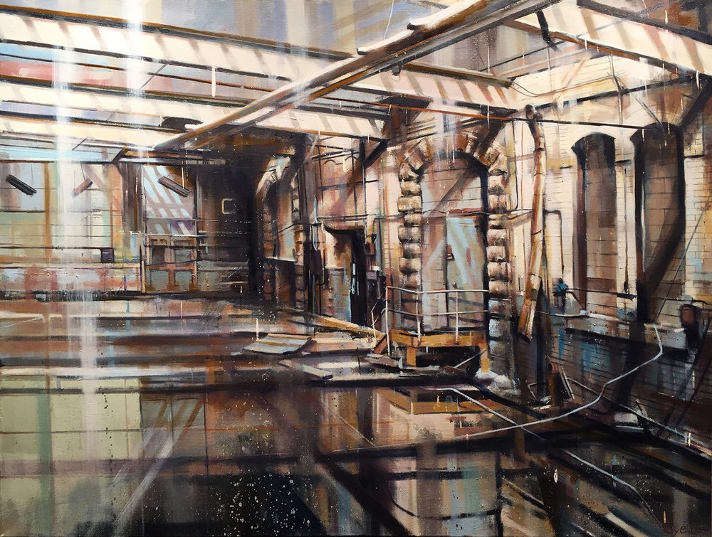 Yard (Brooklyn Navy Yard), Oil on Linen (32x24)