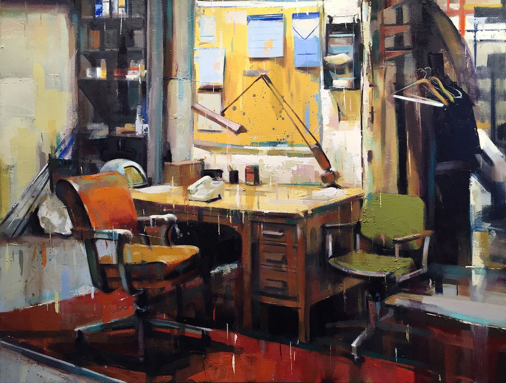"The Office, Oil on Canvas (24"" x 30"")"