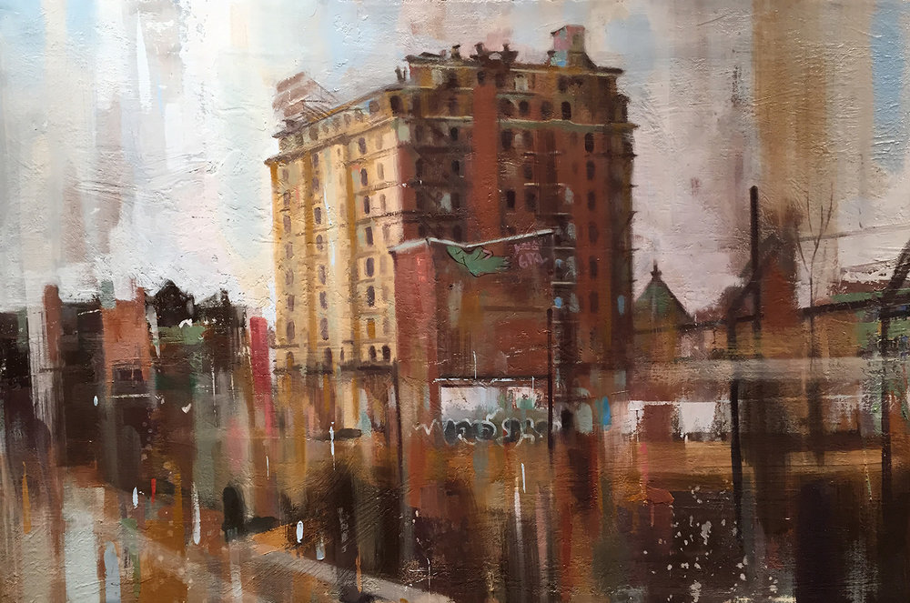 "Divine Lorraine Hotel, Oil on Canvas (16"" x 24"")"
