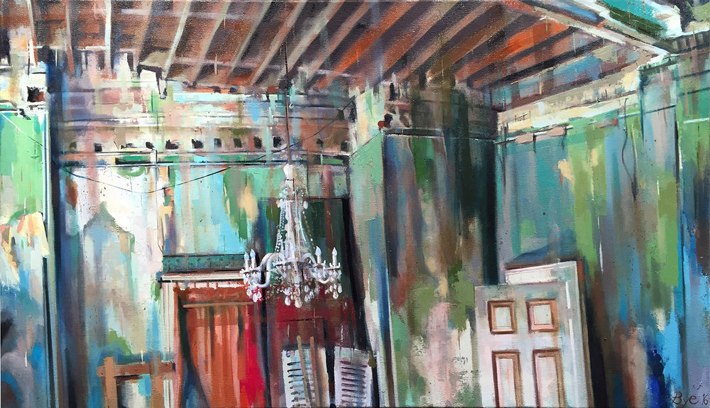 "Chandelier, Oil on Linen (24"" x 40"")"