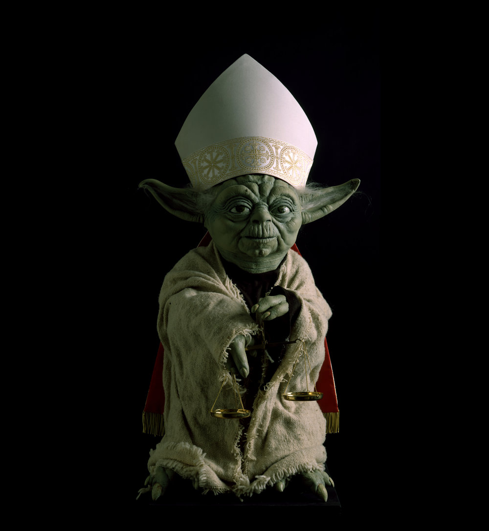 YODA - THE DAY AFTER - SANTIAGO DE COMPOSTELA - SPAIN , 1999 . Mixed media. Photo: Claudio Abate