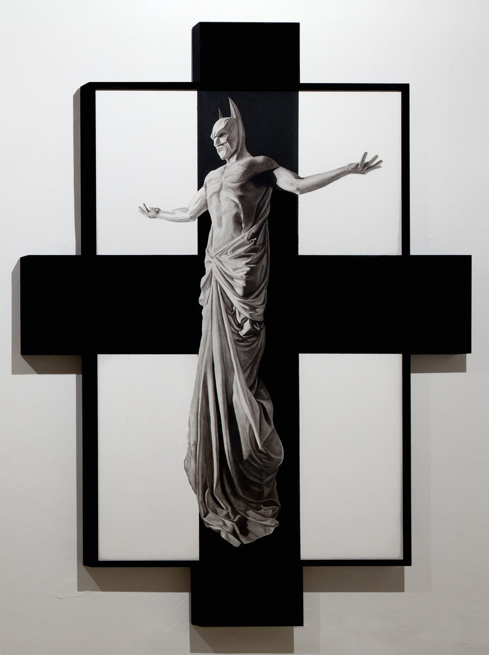 In Excelsis 1 , 2011 . Charcoal, paper, wood, enamel paint, 280x200x7 cm. Photo: Claudio Abate