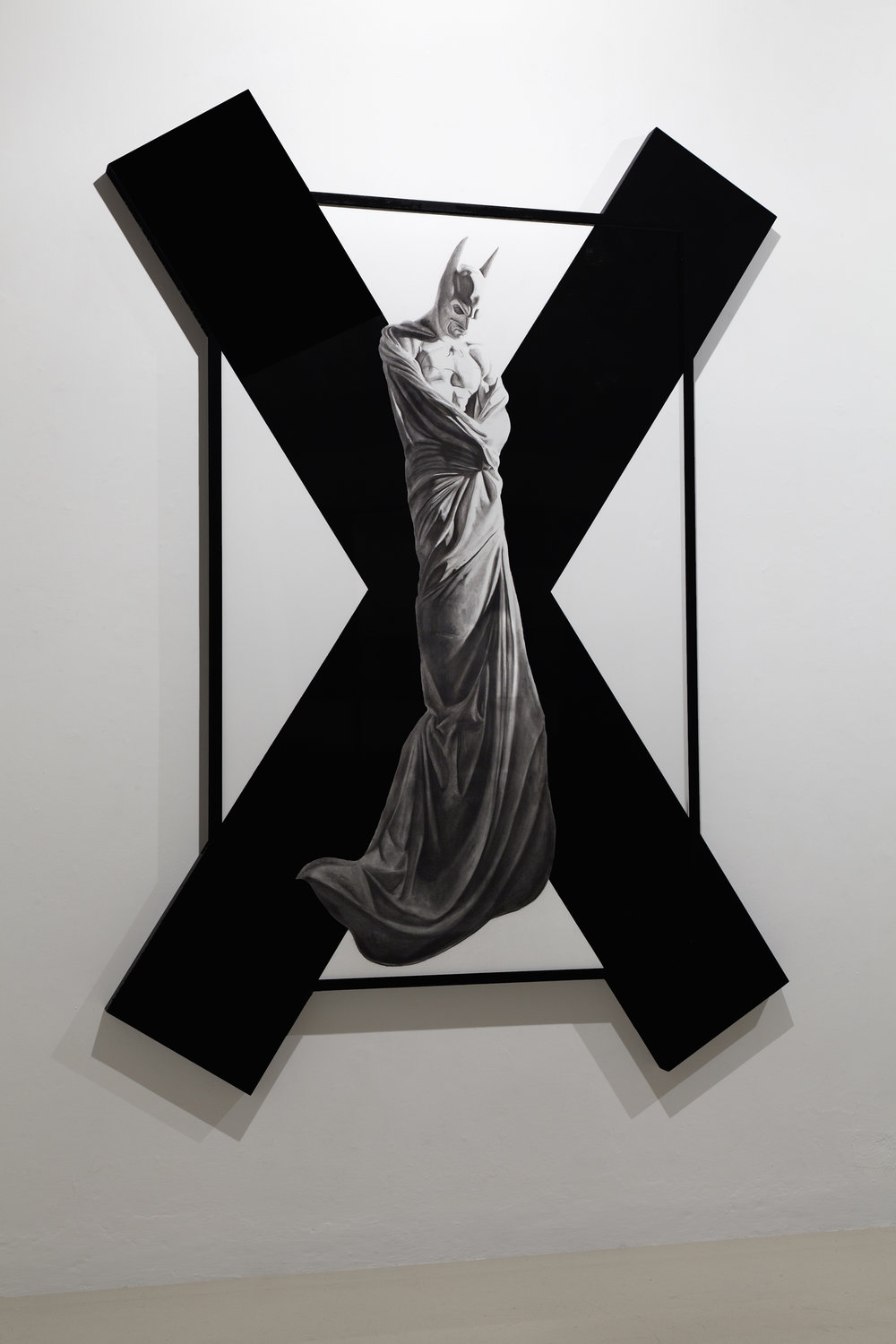 In Excelsis 2 , 2011 . Charcoal, paper, wood, enamel paint, 280x200x7 cm. Photo: Claudio Abate