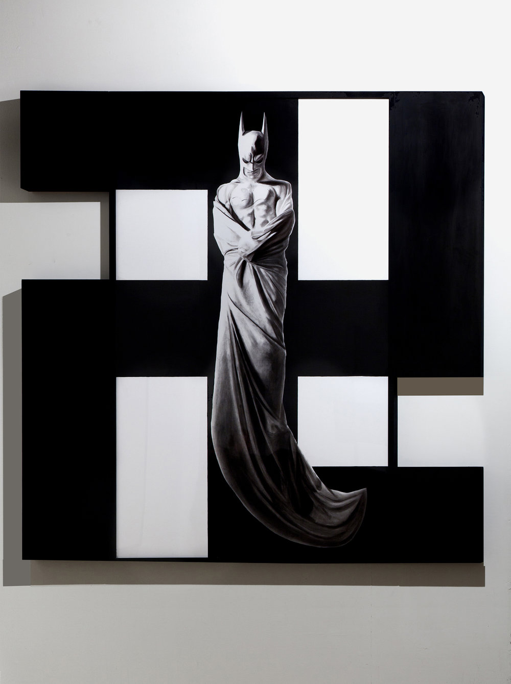 In Excelsis 6 , 2011 . Charcoal, paper, wood, enamel paint, 225 x 232,5x7 cm. Photo: Claudio Abate