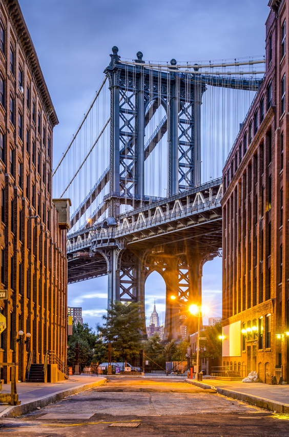 Cityscape of Manhattan Bridge from Brooklyn in New York City.