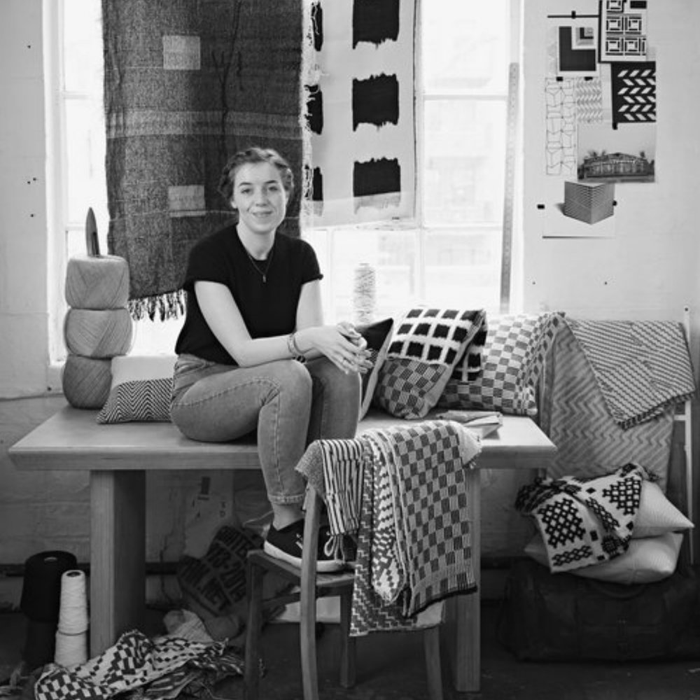 Beatrice Larkin   Beatrice Larkin founded her studio in London, specialising in modern woven textiles, accessories and interior products. Not driven by seasonal trends, Beatrice's distinctive, softened geometric fabrics have a timeless quality that are designed to be enjoyed and appreciated all year round.  The design process begins in Bea's East London studio with her drawings taking inspiration from traditional weave structures, West African textiles, The Bauhaus and Brutalist architecture. She then turns these sketches into jacquard weaves, playing with scale and repeat, focusing on the structure and design of cloth in equal measure.  All production takes place in England and Beatrice works with well-respected, highly skilled manufacturers who understand the care and attention needed for the high end textile market.   Look Like Love Asks….    Whose work are you most inspired by?  - Anni Albers.   What is your favourite time of the day to get inspired?  - Morning.   Best snack for studio days?  - Bakewell Tarts.