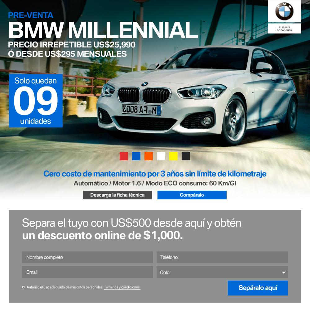 El landing page que permitió vender los 65 BMW Millennials fue simple y directo. Te permitía cambiar los colores del auto.
