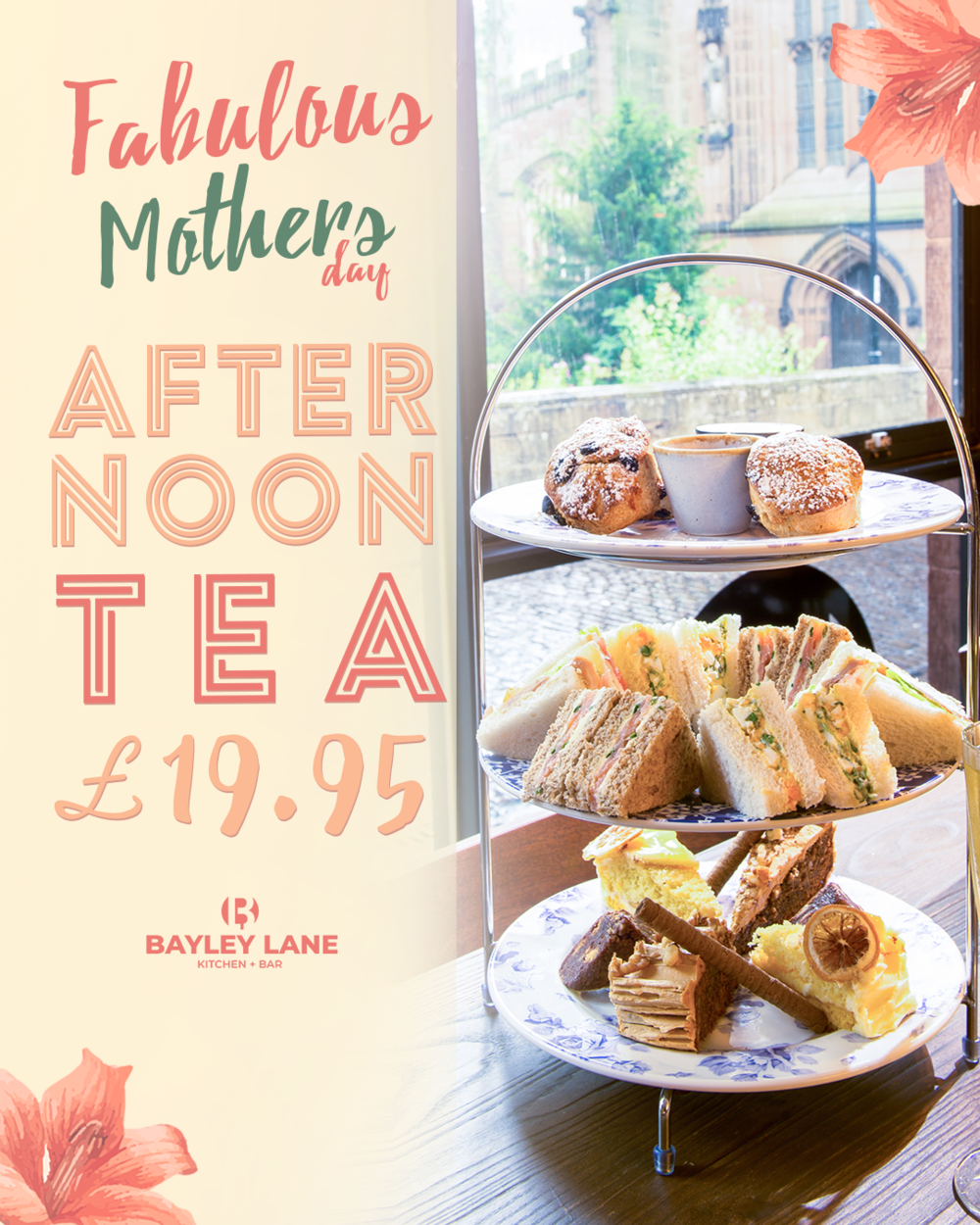 Add a touch of class - Spruce up Mother's day with an extra special afternoon tea. To Book the afternoon tea, make sure you reference 'AFTERNOON TEA' in your booking below.We only have a few spaces for this so book in before they're all gone.£19.95 per 2 people