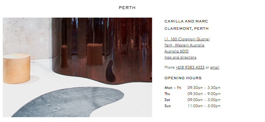 Camilla and Marc - Perth boutique - Claremont Quarter OPENING HOURS