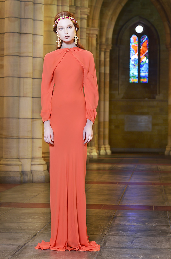 Grace Simmons is set to be the face of Mercedes-Benz Fashion Festival Brisbane. Photographed at  St John's Cathedral w earing Bianca Spender