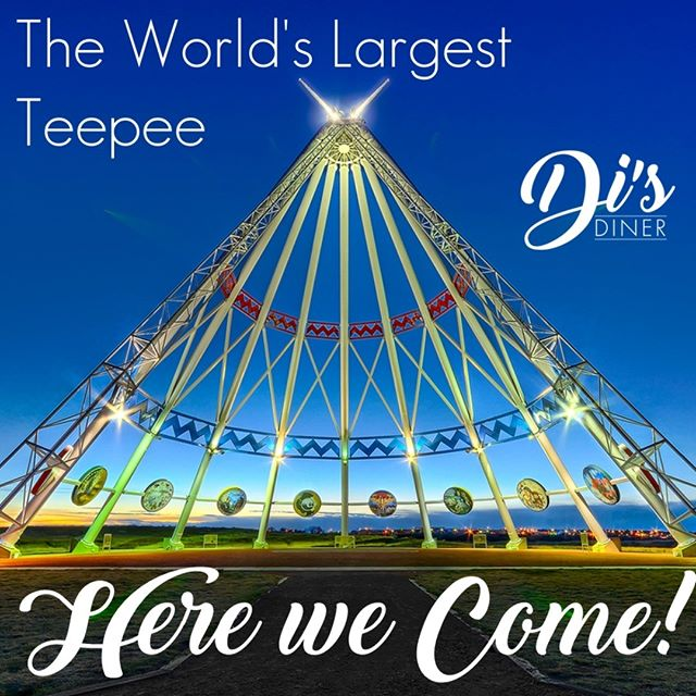 Tues+Wed in the Hat! We can't wait to spend some time with great people and share the homemade love of a good burger. #disdinerca #medicinehat #foodtrucklife #roadtrip #albertabeef #veganoptions #lookatthatteepee #gottagetaselfiewiththatteepee