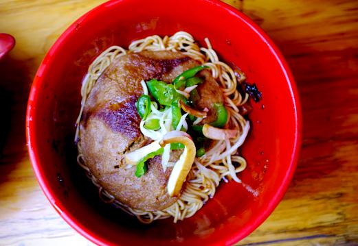 Pork cutlet on noodles