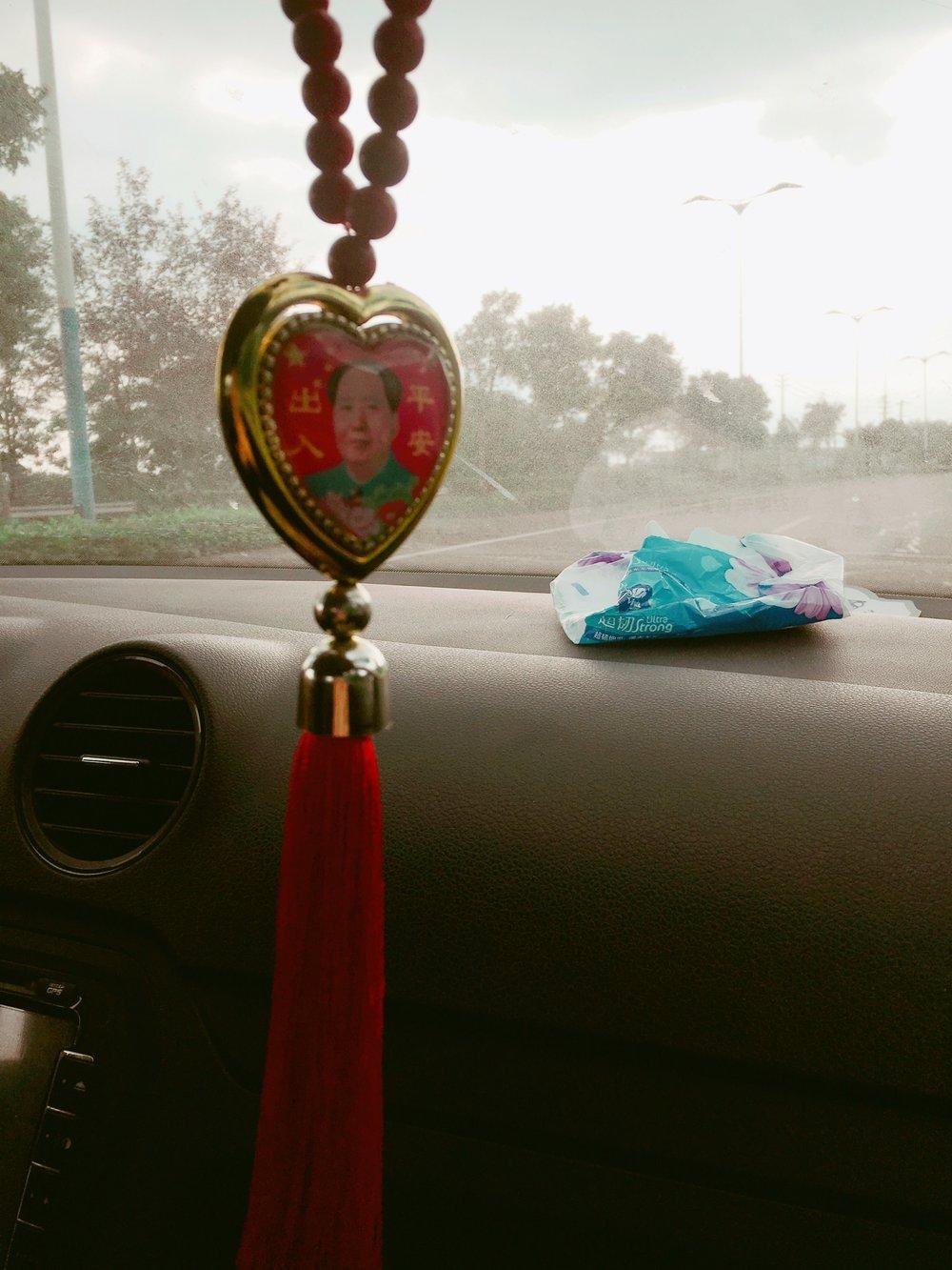 Inside Chen's car