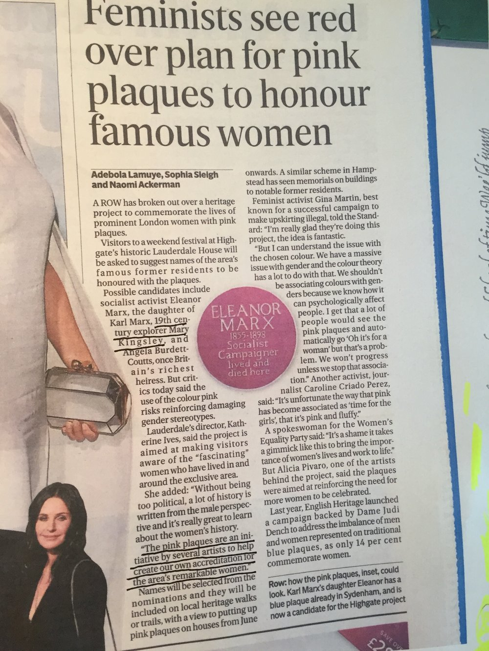 The Evening Standard of 22/2/19 (& Daily Mail/BBC) covered the launch of the PINK PLAQUE PROJECT which I'm involved in, celebrating Highgate's Remarkable Historic Women. I presented the artwork I made in collaboration with the NATURAL HISTORY MUSEUM about the remarkable MARY KINGSLEY's insect & fish specimens which she brought back to London from Africa in the 1890s  NB Our choice of the colour PINK was deliberately ironic. Perhaps unsurprisingly it became controversial!