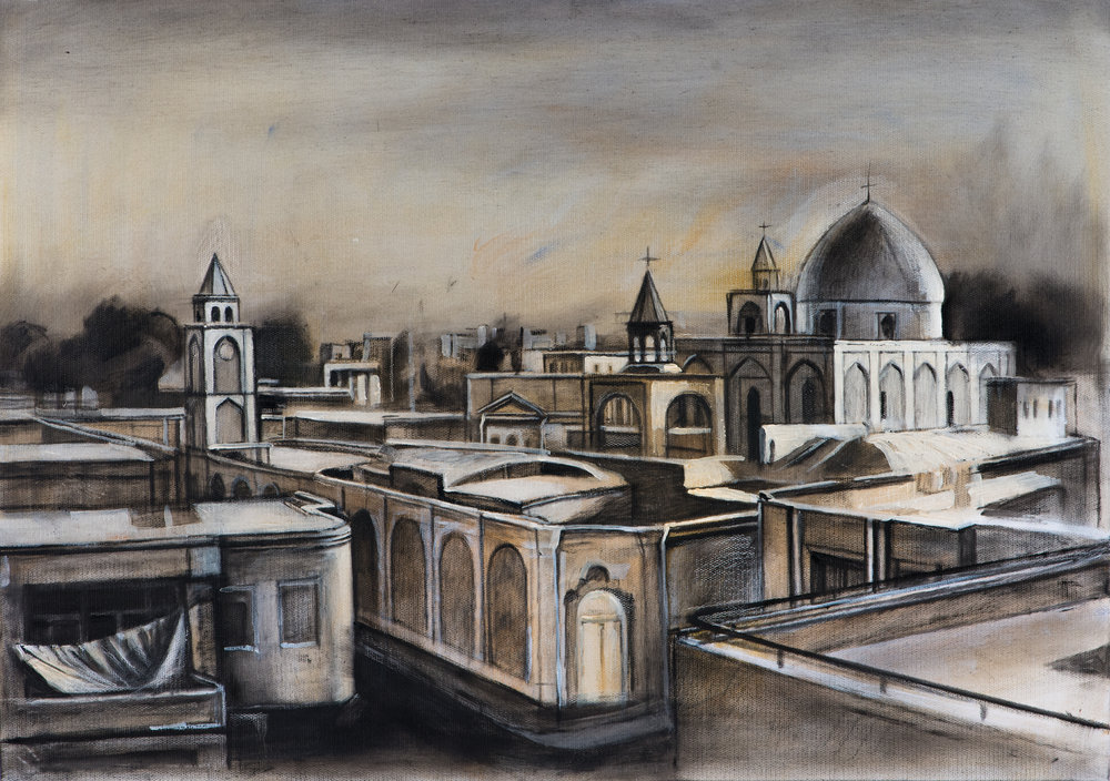 """Nor Jugha, Capital of the Armenian Seafarers,  Ararat Sarkissian,2018, oil on canvas, 65 x 46 cm   The Armenian city of Nor Jugha (New Julfa) emerged out of Shah Abbas' campaign in the early 1600s to deport Armenians from Jugha (Julfa), near the Arax River in the heart of historic Armenian lands, to his new capital of Isfahan. There they settled in an area which became known as New Julfa.  New Julfa quickly emerged as a new Armenian city. Its main avenue Nazar Khiavan, named after the city's first Kalantar (mayor) Nazar, stretches East to West and housed Armenian shops and workshops. Ten straight and wide streets stretched along the River Zayande to the south, crossing Nazar's Avenue and forming twenty independent districts. New Julfa was covered with beautiful gardens and the Armenians built 13 churches in the city.  By 1620 New Julfa was the center of Iranian trade and had 30,000 inhabitants. Shah Abbas handed the Armenians the monopoly on Iranian raw silk export. Armenian merchants' agents, in addition to their commercial activities, often provided intelligence, translations and diplomatic services for the Shah.  A new type of Armenian was formed in New Julfa, who should be called the """"sea-Armenian"""". These Armenian merchants took to the sea and became valiant seafarers, first establishing themselves in prominent port cities in India and then in the Far East."""