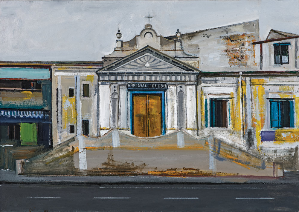 "Armenian Street, Madras ,  Ararat Sarkissian, 2018, oil on canvas, 65 x 46 cm   Armenians merchants had been settling in Southeast India since the 16th century. In the mid-17th century, they were fighting alongside the Indian communities against the Portuguese colonists, and in 1662 Armenian Marcus Erezad became the Governor of Mylapore. The Armenians of Madras (now Chennai) established a printing house in 1772, publishing books and the first Armenian periodical, ""Azdarar"" in 1794.  An Armenian Church was founded in Madras in 1712, but the British destroyed it after three decades. The present church was established in 1772 on Armenian Street. Masonic symbols are visible on the front of the church, which means that the Madras people were interested in Masonic lodges as early as in the 18th century.. St. George fortress, known as the oldest Armenian building, is the current Admirals' home. The Marmalong Bridge (Maraimalai Adigal Bridge) was originally constructed by the Armenian merchant Coja Petrus Uscan in 1726-1728 at the cost of 100,000 rupees.  The Armenian community of Madras is famous for its patriotism. Wealthy merchant Shahamir Shahamirian appealed to Catherine the Great, the Queen of Russia, to liberate Armenia from under the Persian yoke, promoting the vision of an Armenian state and publishing the first ever draft of the Constitution of Armenia in Madras."
