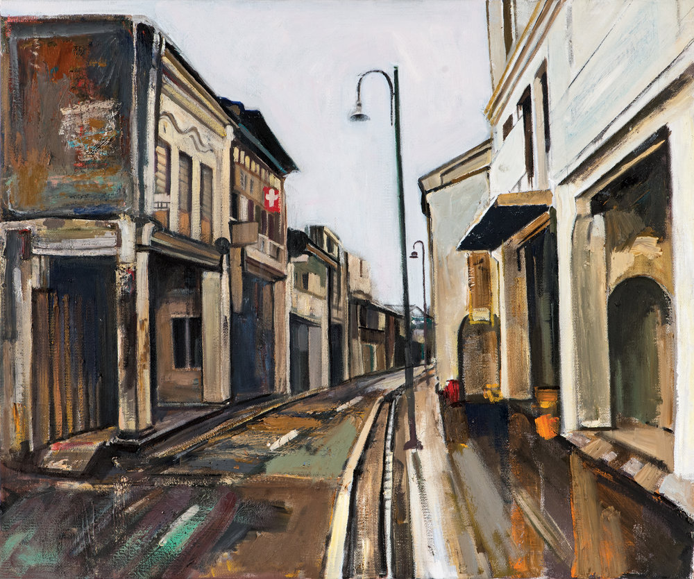 Armenian Street, Georgetown ,  Ararat Sarkissian, 2018, oil on canvas, 65 x 54 cm   The Armenians came to the island of Penang, Malaysia, at the end of the 18th century. Today the city's Armenian Street (Lebuh Armenian), which is located within the city's UNESCO World Heritage Site, is a popular tourist destination.  The small number of Armenians in Penang were mainly merchants and hoteliers. The well-known Sarkies brothers established the Eastern and Oriental Hotel (The E&O) and later they ran the Crag Hotel. Dr Thaddeus Avetoom founded the Georgetown Dispensary, and Anthony A. Anthony established an export firm, whose name still exists, as does the E&O and the Dispensary.  The Armenian Apostolic Church of St. Gregory the Illuminator in Bishop Street was established through the efforts of philanthropists Carapiet Arackell and Catchatoor Galstaun. The Church was demolished in 1909 and a monument was erected to commemorate it. In the 1930s, it too was demolished and the remains of Armenians buried in the cemetery were re-interred in a special plot in the Western Road cemetery.