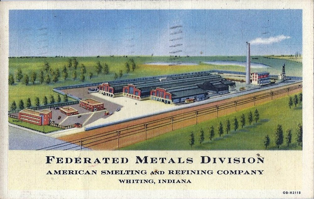 The building on the left in this 1940's postcard was the office for Federated Metals. It still stands near the northwest corner of Indianapolis Boulevard and New York Avenue. Note the trees to the upper left behind the plant. The image for the postcard was created before Standard Oil constructed laboratory buildings and offices where those trees are pictured. Some of those buildings eventually became home to Calumet College. The railroad tracks shown running in the foreground were later dismantled and replaced by the bicycle/walking trail which now runs past the plant. The plant is still in operation, under the name Whiting Metals.