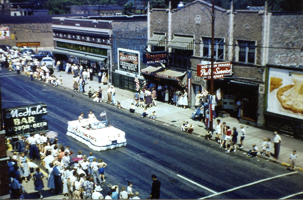 The Whiting 4th of July parade, around 1955. The photo was taken from the corner of 119th Street and Temple Street, looking west toward Central Avenue.
