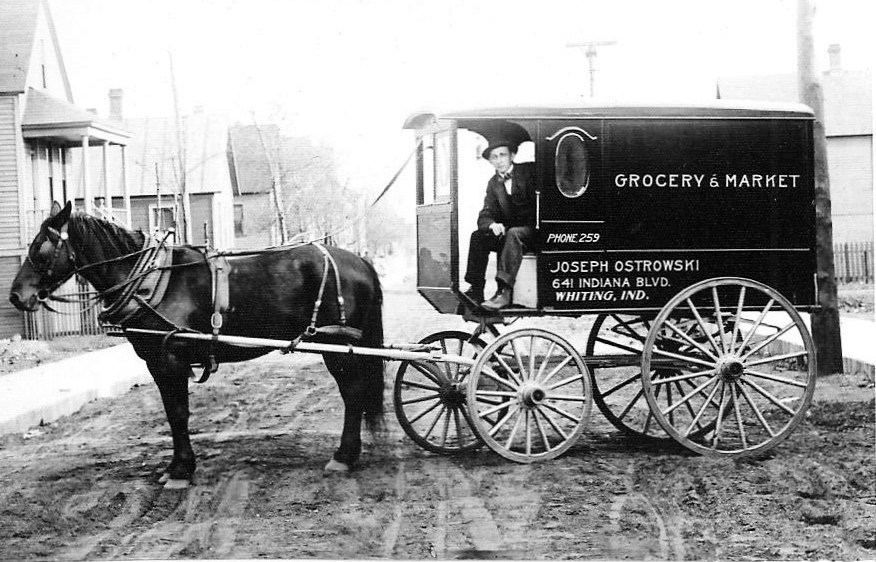 Joseph Ostrowski started his grocery store at what is today 2062 Indianapolis Boulevard in 1904. This photo was taken in 1916, and shows driver Casimi Kroop delivering groceries in the 2600 block of Schrage Avenue.