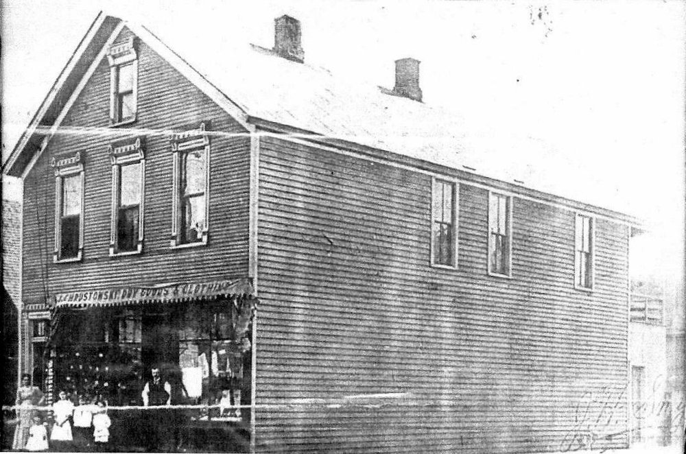 Chrustowski Goods and Clothing Store was at the northeast corner of New York Avenue and Fischrupp Avenue. Most of the Chrustowski family are standing in front of their business in this photo: Anna Chrustowski, her children Frances, John Steve and Marie, and their father Joseph Chrustowski. The family lived upstairs. The photo is from about 1920.