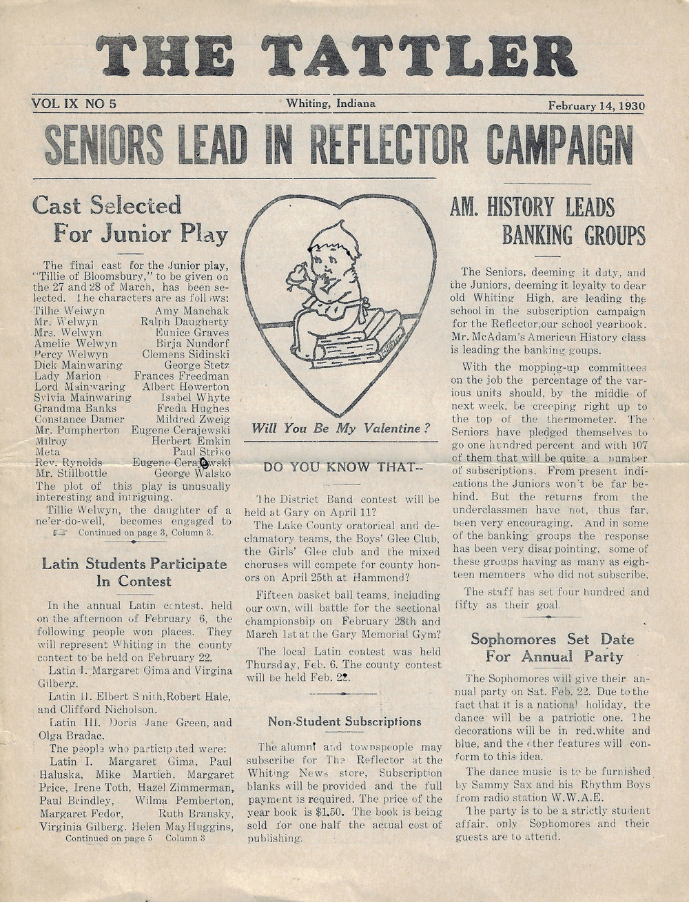 The February 14, 1930 edition of The Tattler, the Whiting High School newspaper.
