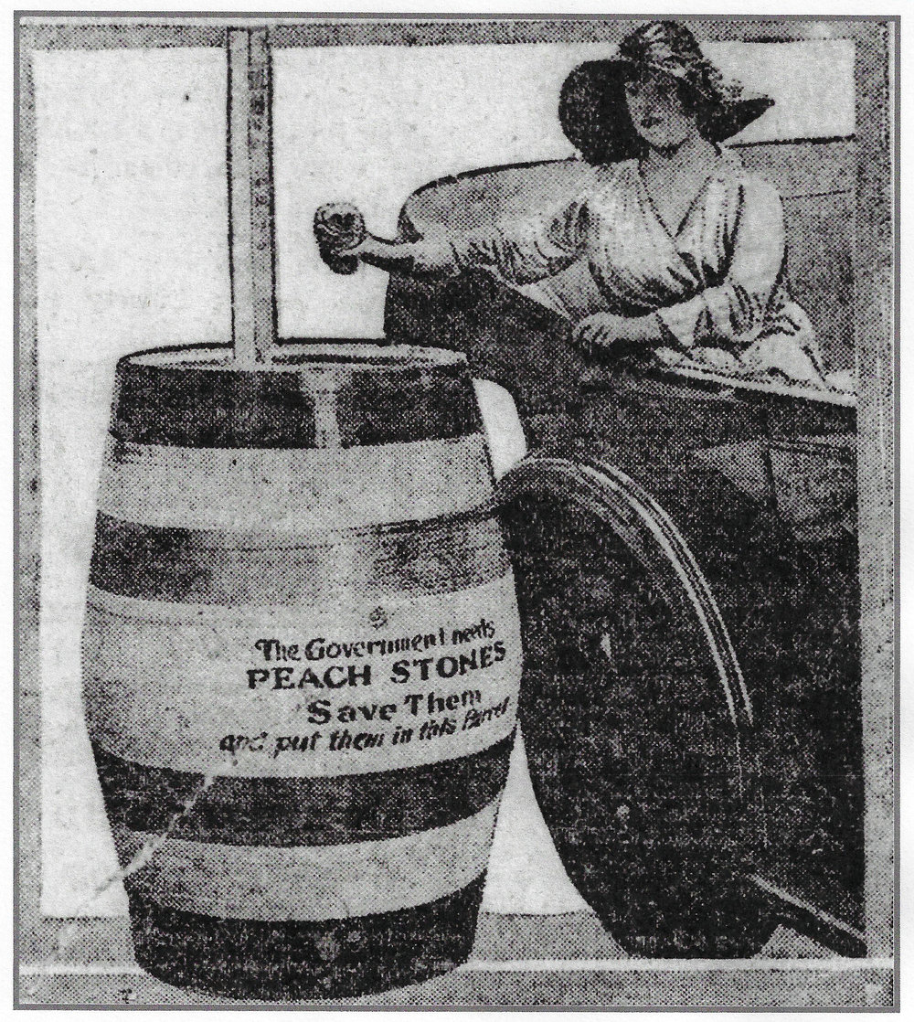 This drawing appeared in the Lake County Times in 1918, encouraging area residents to collect peach stones, pits from other fruit, and shells from some nuts. These food items contained carbon, which could be used in gas masks that protected soldiers from poisonous gas attacks.