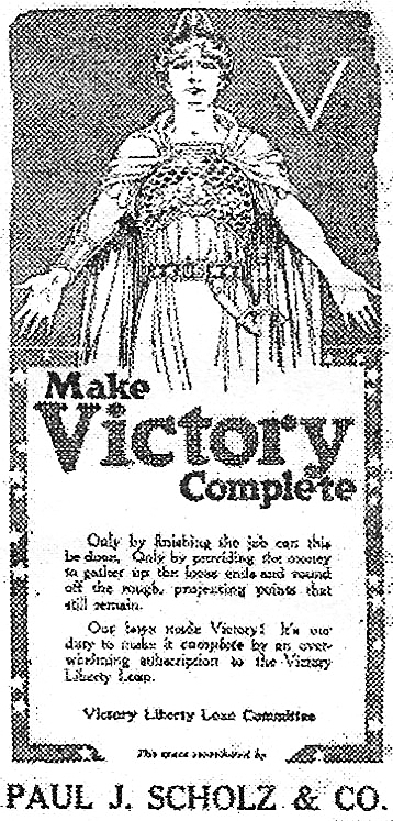 An ad to contribute money to pay our war expenses that appeared in the Whiting Call after the end of the war.