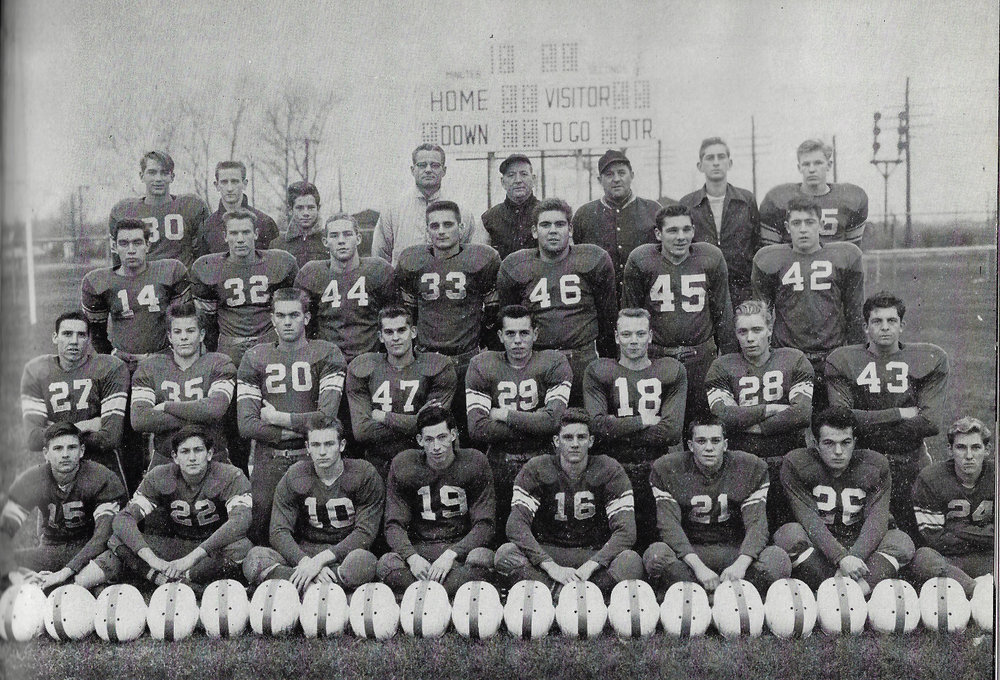The 1954 Whiting Oilers were 8-1, winning the state championship against South Bend Riley. On this team were: Front Row, left to right: Don Turich, Roger Wargo, Carl Herakovich, Louie Lee, Jim Kamradt, Burnell Sell, Phil Grenchik, Darrel Hunt. Second Row: Richard Headley, Loye Bechtold, Jerry Prager, Don Hough, Nick Plesha, Ron Rosin, Jerry Ward, Wayne Barnes. Third Row: LeRoy Satterlee, Ray Zubeck, Walt Campbell, Bob Bercik, David Sharp, Ed Fritz, Wayne Baran. Top Row: John Murad, Managers Jack Jaros and Carl Kristoff, Coaches Peter Kovachic, Ray P. Gallivan and Henry Kosalko, Manager George Ostrowski, Ed Christiansen.