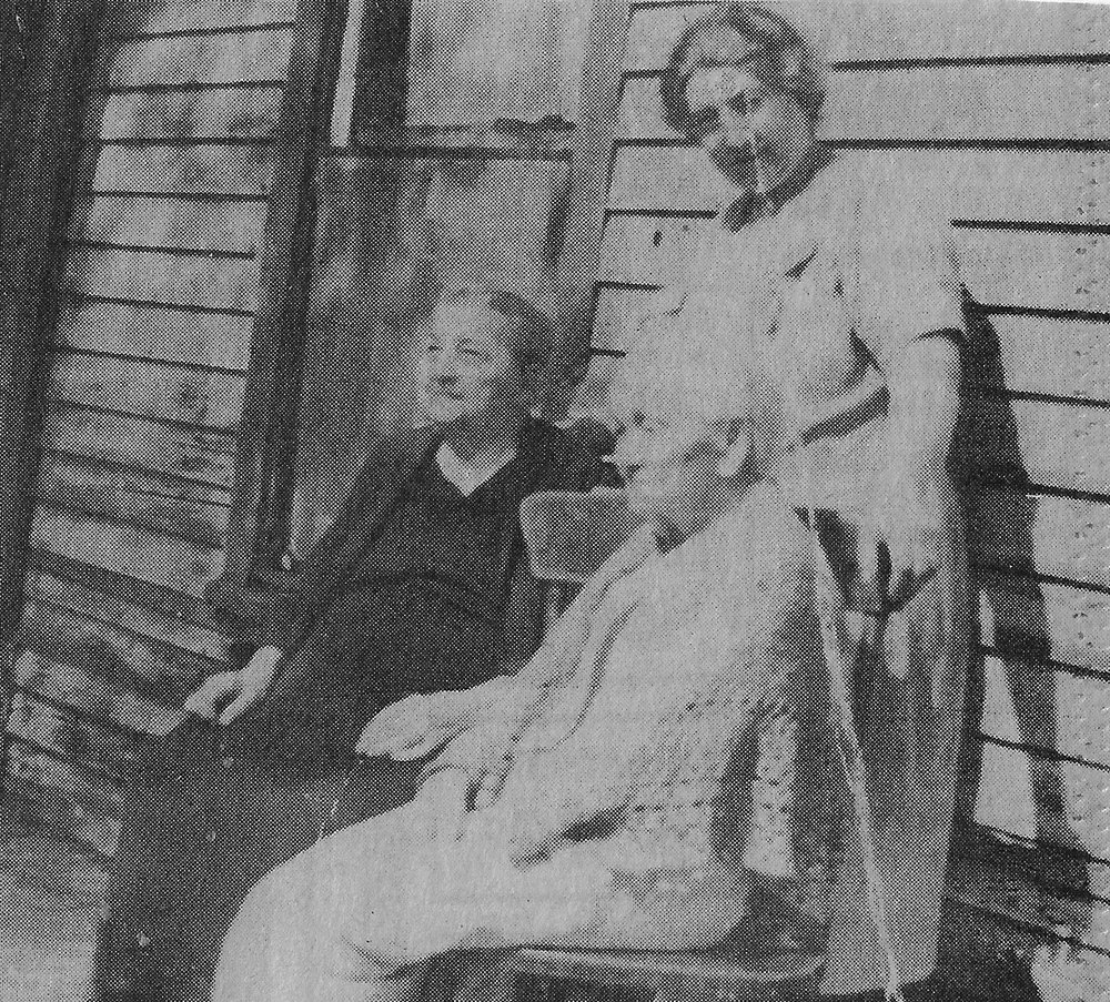 Standing is Minnie Neubeiser Lightfoot. Seated to her right is her mother, Anna Konyvesy Neubeiser. To Minnie's left is her grandmother, the wife of Joseph Konyvesy, who according to family lore, saved the life of Mary Todd Lincoln at Wolf Lake. This photo is from the Lightfoot family collection and shows them on the porch of the family home, on Wolf Lake in Hegewisch, before it was demolished in 1947.