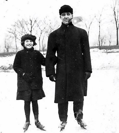 Ten-Year-old Betty Long skates on the Whiting Park lagoon with her father, Frank Long, in 1921. A few years later she met Clarence Gehrke on the ice rink, and a few years after that they married.