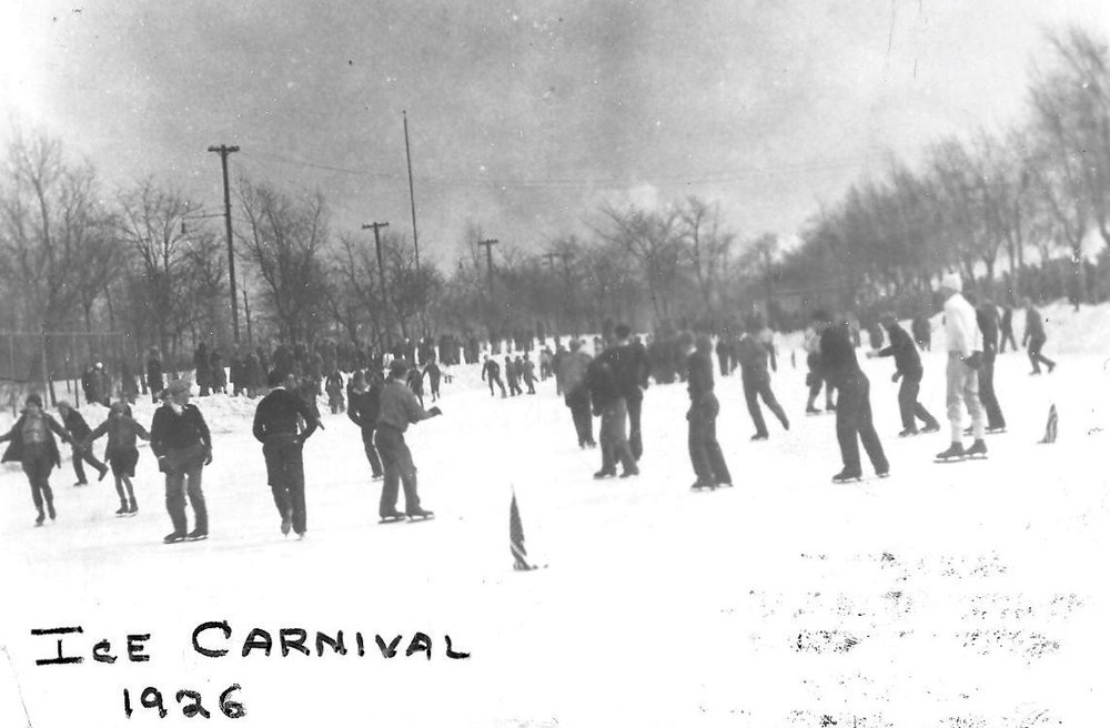 Starting in 1924 the city of Whiting held an Ice Carnival on the lagoon in Whiting Park. Skating races were the main attraction for many, but the event was also popular for those who just liked to get outside and skate, as can be seen by the crowd in this 1926 photo.