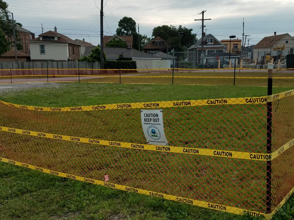 Some of the land near the old Federated Metals site was taped off with warning signs while the land was being cleaned up for lead contamination earlier in 2018.