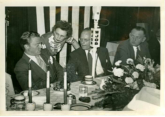 Actor James Cagney is on the left, and Whiting Mayor James T. McNamara is on the right during Cagney's visit to Phil Smidt's to raise money for war bonds during World War Two.