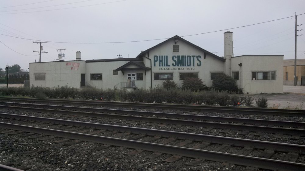 Phil Smidt's stood at the far north end of Calumet Avenue, across from the railroad tracks. This photo was from October 2013, six years after the restaurant closed. The building was demolished in 2014.