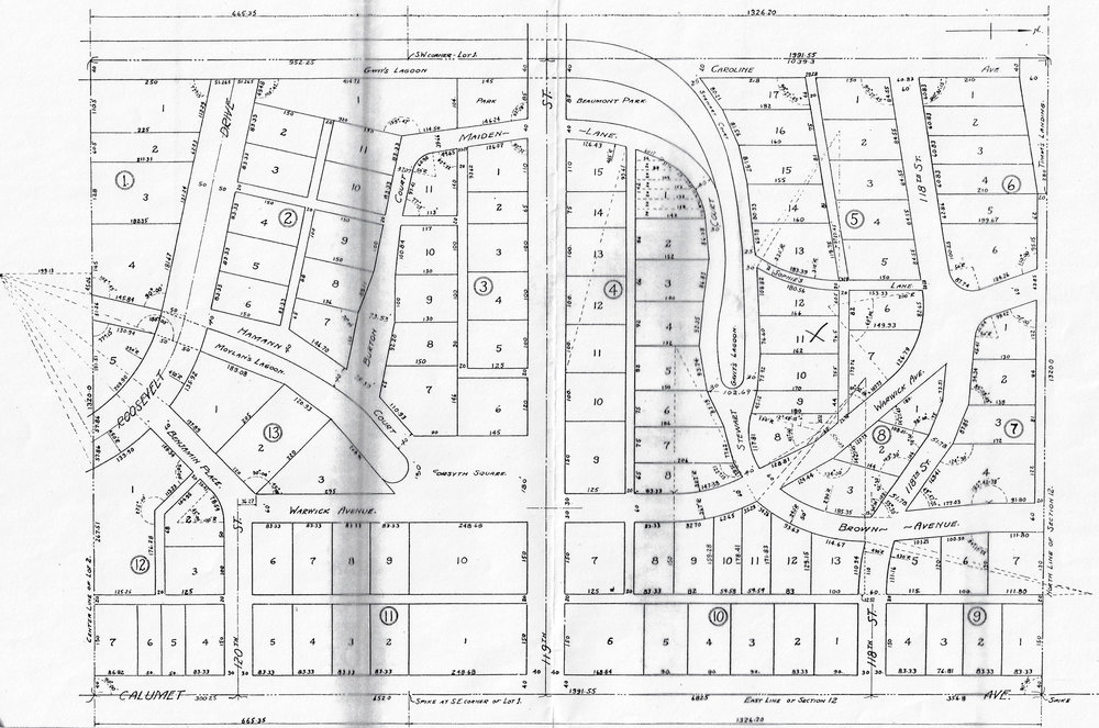 A map showing Davidson's plan for the Water Gardens. At the top center, where 119th Street reaches its western end, is the planned Beaumont Park. Note the lagoon envisioned at the left center of the map. It was named Moylan's Lagoon, and ran along Hamann Court. Another lagoon is drawn in along Stewart Court, which is located to the right of center on this map. It was called Gavit's Lagoon.