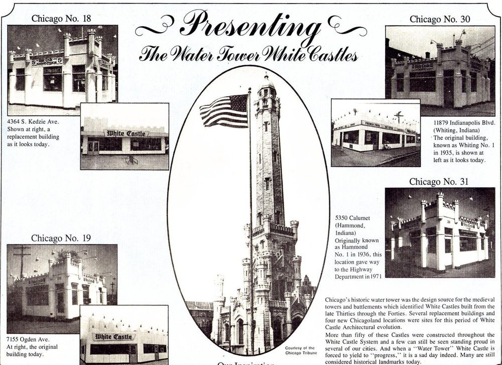 The first White Castle building in Whiting looked like a small castle. As this placemat explains, the inspiration for that look came from Chicago's Water Tower. The Whiting White Castle was one of just over fifty that was built in that style. Known as Chicago No. 30, the Whiting restaurant is shown in the upper right hand corner of this placemat.