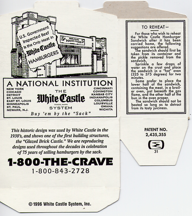 This 1995 hamburger box celebrated the 75th year of White Castle hamburgers. Besides the drawing of the old castle design, the box has a couple of features that were on many of the old boxes, such as the list of cities served by White Castle and instructions (still valid) on how to reheat a White Castle sandwich.