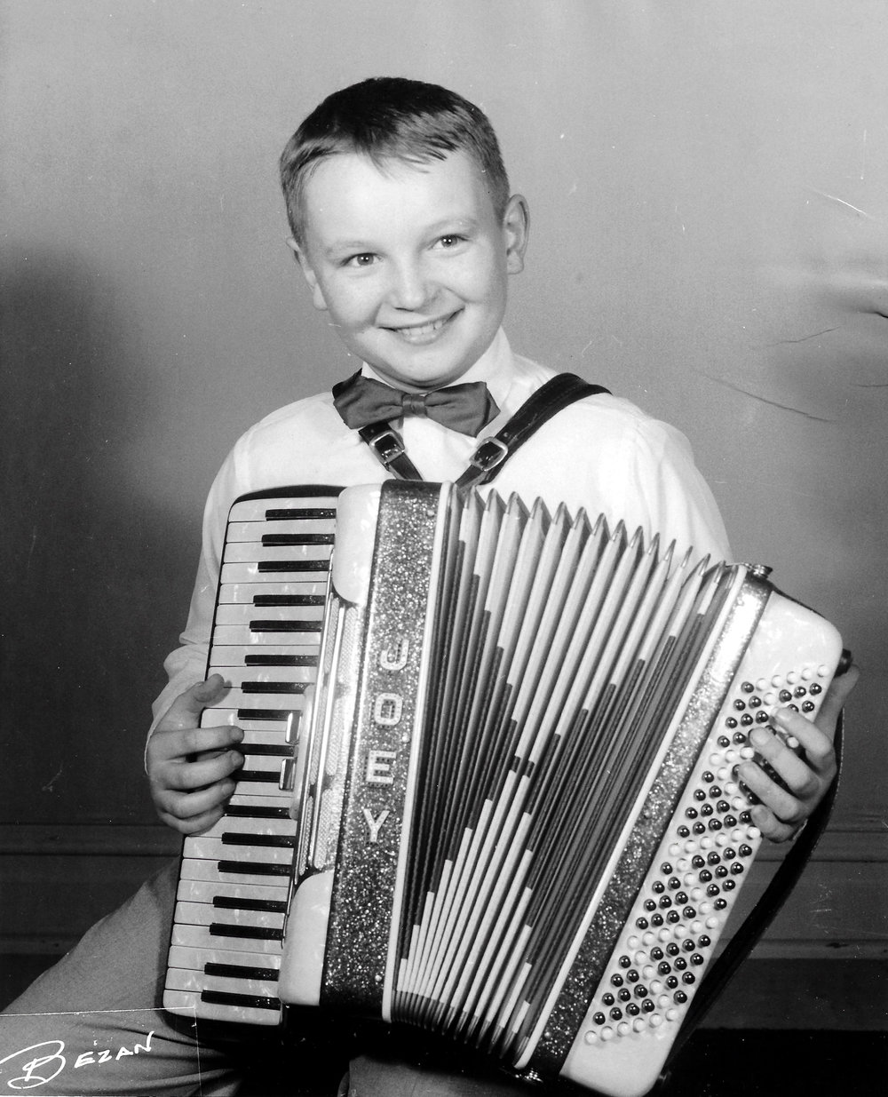 A young Whiting accordion student.