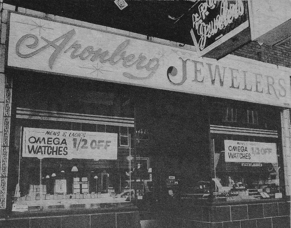 Aronberg Jewelers became a part of Whiting in 1905. In this 1981 photo, which appeared in The Calumet Day, the caption said the store (at 1348 119th Street) employed two watch makers, does engravings, sells engagement rings and other jewelry, as well as silver and Lenox China.
