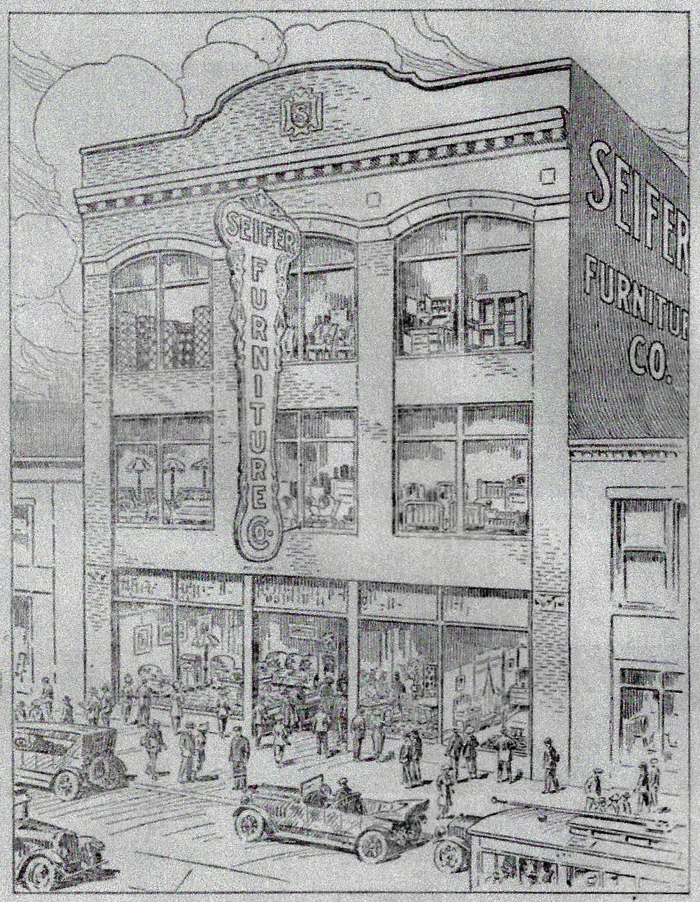 Seifer's Furniture was a major part of downtown Whiting from the early 20th century. It's first store, founded in 1908, was at the corner of 119th and New York Avenue. In 1920, it opened its new, larger store just up the street at 1406 119th Street.