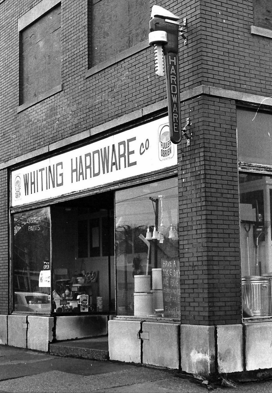 Whiting Hardware, 1600 119th Street in 1980, currently the home of Indy Perks coffee shop. (Susan K. Hmurovic photograph)
