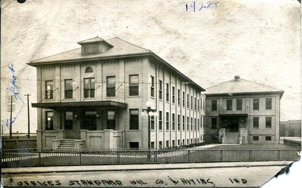 At the eastern end of 119th Street was Front Street, and on Front Street (approximately where the Mascot Museum now sits) was the Standard Oil Refinery Main Office, seen here in 1922. By the 1940s it was clear that this old structure was inadequate to handle the needs of the growing refinery. In fact, because of the space problem, Standard Oil had to rent offices in at least two 119th Street buildings to house some of its business operations. The company had a drafting department office at 1738 119th Street in the 1940s, and housed some of its Engineering Department in the bank building at 1449 119th.