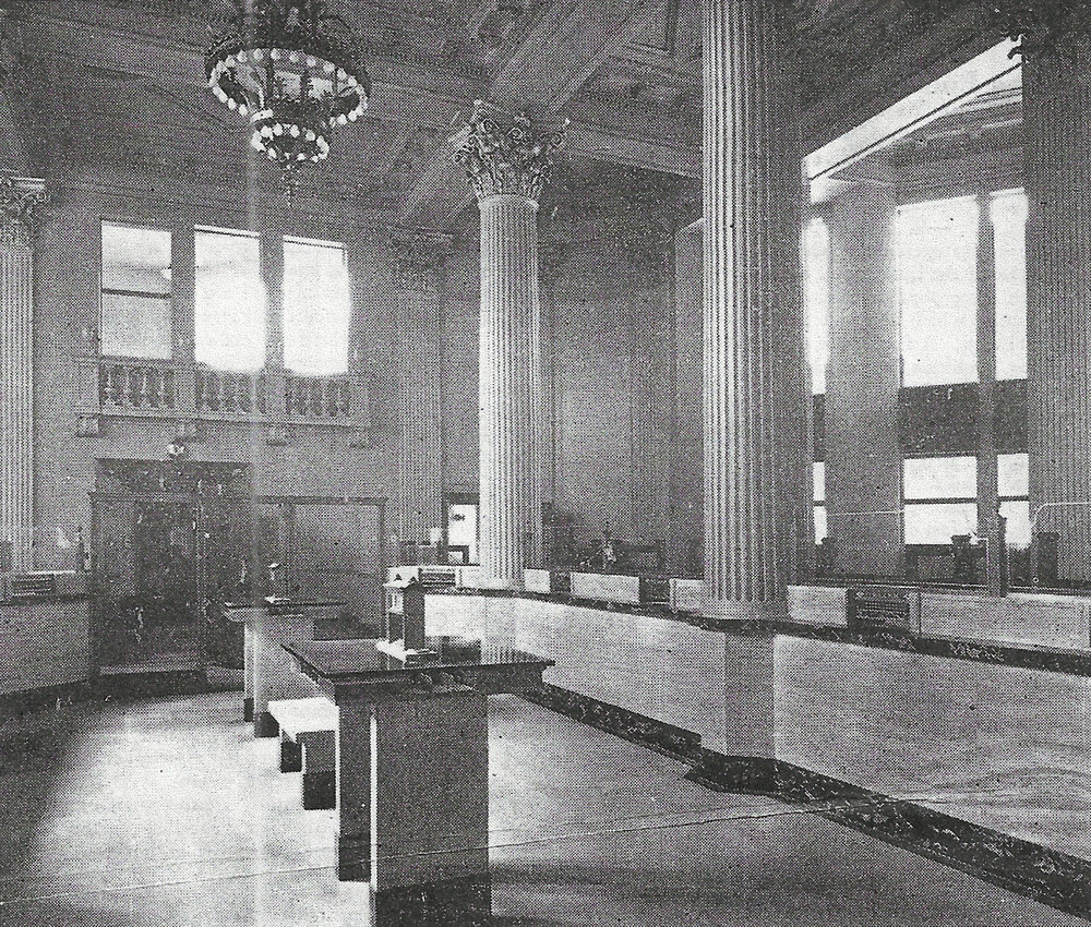 The lobby of the Central State Bank in its building at 119th Street and Indianapolis Boulevard.