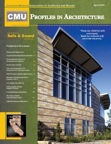 - Concrete Masonry Association of California and  Nevada, Profiles in Architecture (2013)
