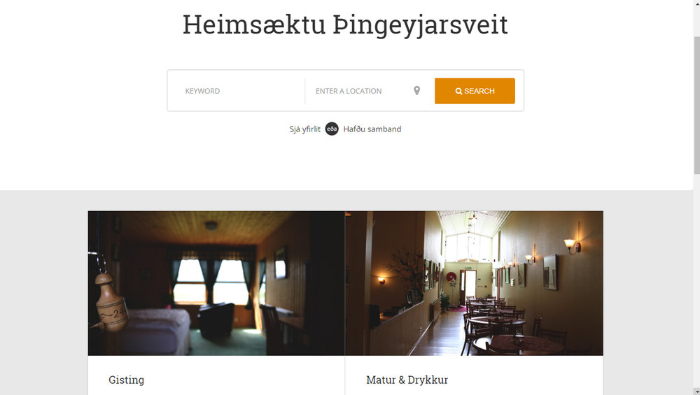 Homepage design and photographs