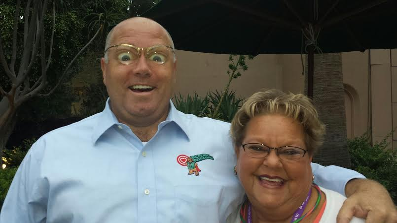 """Goofing around in Aneheim, CA with Amanda Kistler, President of NADONA - It was her birthday  """"Lon was the anecdote to cell phones... we were on the edge of our seats..."""" Audience member, Florida Department of Health"""