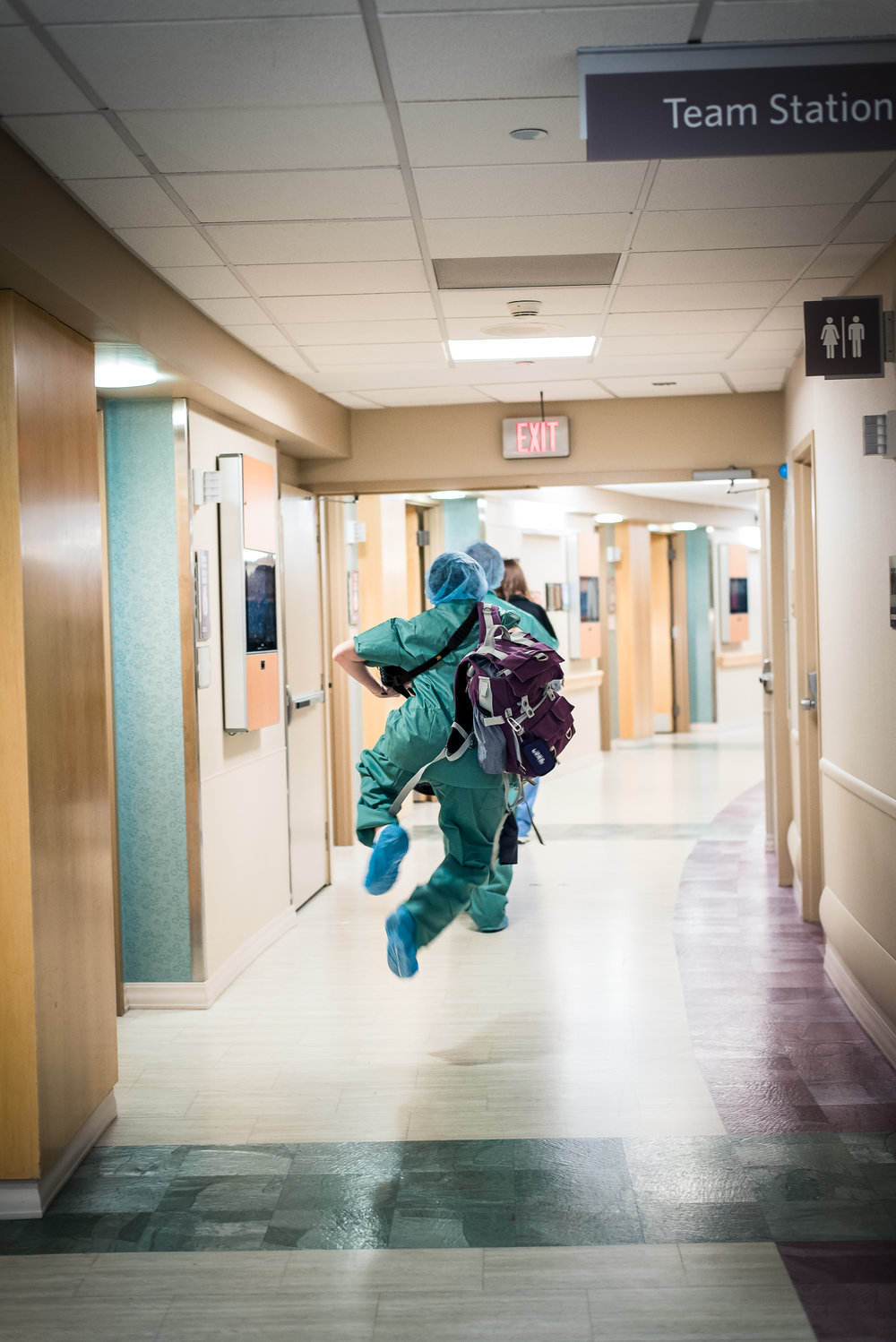 Skipping down the hall to operating room for cesarean
